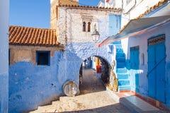 非洲,摩洛哥, chefchaouen,小山和房子 2013年 库存图片