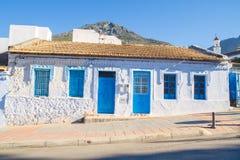 非洲,摩洛哥, chefchaouen,小山和房子 库存图片