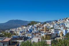 非洲,摩洛哥, chefchaouen,都市城市和房子 2013年 库存图片