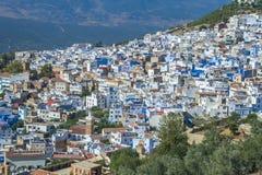 非洲,摩洛哥, chefchaouen,都市城市和房子 2013年 图库摄影