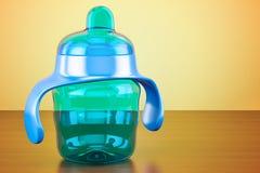 非溢出杯子,在木桌上的蓝色颜色, 3D翻译 免版税库存照片