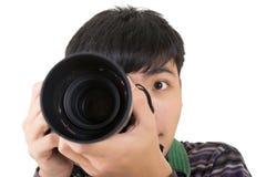 年轻非职业摄影师 免版税图库摄影