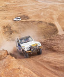 非职业种族在沙漠,夏日。 免版税图库摄影
