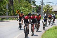 非职业骑自行车者他们在慈善节目竞争 图库摄影