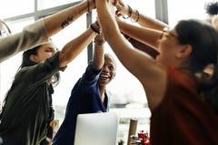 非裔激发灵感运作的工作场所概念 免版税库存图片