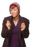非裔美国人妇女日作梦 免版税库存照片