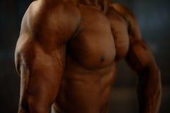 非裔美国人的人式样摆在的特写镜头肌肉与在黑演播室背景的赤裸躯干 免版税库存图片