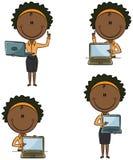 非裔美国人的企业夫人With Laptop 免版税库存照片
