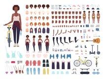 非裔美国人的十几岁的女孩动画成套工具或具体化 捆绑少年` s身体局部,姿势,面孔,理发 皇族释放例证