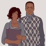 非裔美国人的夫妇,公务便装样式 免版税图库摄影