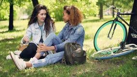 非裔美国人的女孩与她的白种人朋友聊天坐草在公园,朋友谈话并且微笑着 股票录像