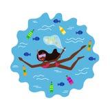 非裔美国人的女孩游泳并且收集垃圾 向量例证