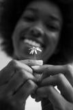 非裔美国人的女孩画象有一朵花的在她的手上 图库摄影