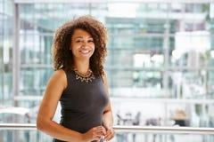 非裔美国人的女实业家微笑的画象,腰部  库存照片