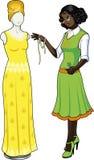 非裔美国人的女性专业服装desig 库存图片