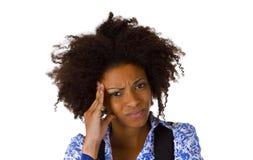 非裔美国人的妇女感到恶心 免版税库存照片