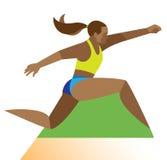 非裔美国人的妇女是一名跳远运动员 库存照片