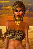 非裔美国人的妇女以豹子与美丽的化妆用品和顶头围巾的印刷品时尚 库存图片