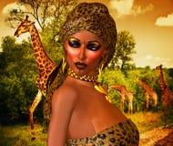 非裔美国人的妇女以豹子与美丽的化妆用品和顶头围巾的印刷品时尚 库存照片