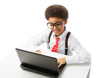 非裔美国人的少年商人 库存图片