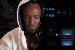 非裔美国人的斥责Hip Hop艺术家 免版税库存照片