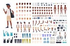 非裔美国人的男孩建设者或DIY成套工具 孩子或青少年的身体局部,表情,衣物的汇集 向量例证