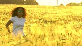 非裔美国人的戴一副白色T恤杉和蓝色飞行员太阳镜的女孩少年少妇站立在一块麦田 股票录像
