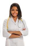年轻非裔美国人的医生或护士 免版税图库摄影