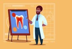 非裔美国人的医生Dentist Looking在诊所工作者口腔医学医院上的At Tooth 向量例证