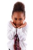 非洲亚裔逗人喜爱的女孩一点 免版税图库摄影