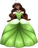 非洲公主In Green Dress 免版税库存照片