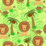 非洲动物样式 与乌龟,狮子,棕榈树,太阳,在绿色背景的草的无缝的样式 库存例证