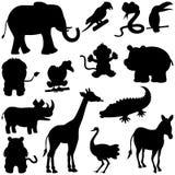 非洲动物被设置的剪影 免版税库存照片