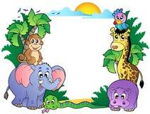 非洲动物逗人喜爱的框架 免版税库存图片
