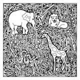 非洲动物zentangle 免版税库存照片