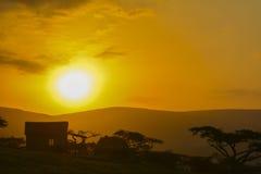 非洲南日落 库存照片