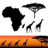 非洲和徒步旅行队元素 库存图片