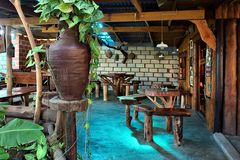 非洲国家咖啡店内部  免版税库存照片