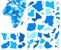 非洲地图和国家等高-例证 库存例证
