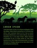 非洲大草原徒步旅行队风景的传染媒介例证与野生生物动物剪影的设计模板 免版税图库摄影