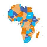 非洲大陆多彩多姿的政治地图有国界和国名标签的在白色背景 向量 皇族释放例证
