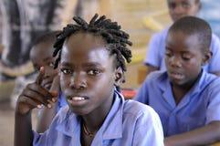 非洲女孩在学校-纳米比亚 库存照片