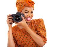 非洲女孩照相机 免版税库存照片