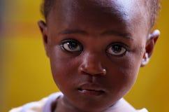 年轻非洲女孩面孔 库存照片