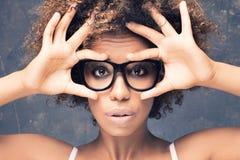 年轻非洲女孩画象有非洲的 库存照片