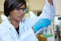 非洲女性研究员与一块玻璃一起使用在实验室里 免版税图库摄影