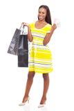 非洲妇女购物现金 库存照片
