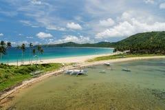 非离子活性剂海滩Nacpan和Calitan (El Nido,菲律宾) 库存图片