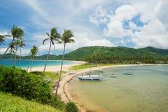 非离子活性剂海滩Nacpan和Calitan (El Nido,菲律宾) 图库摄影