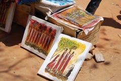 非洲工艺项目待售在市场上在伊林加在坦桑尼亚 免版税库存照片
